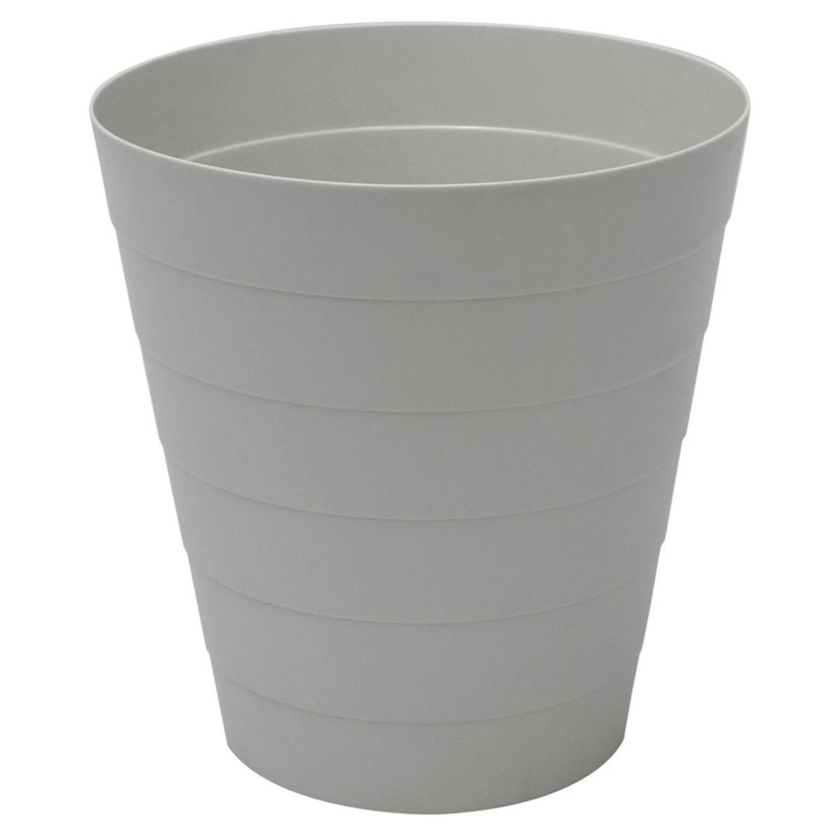 JVL Funktional Plastic 7 Litre Round Bin Grey 25 x 25 x H26cm