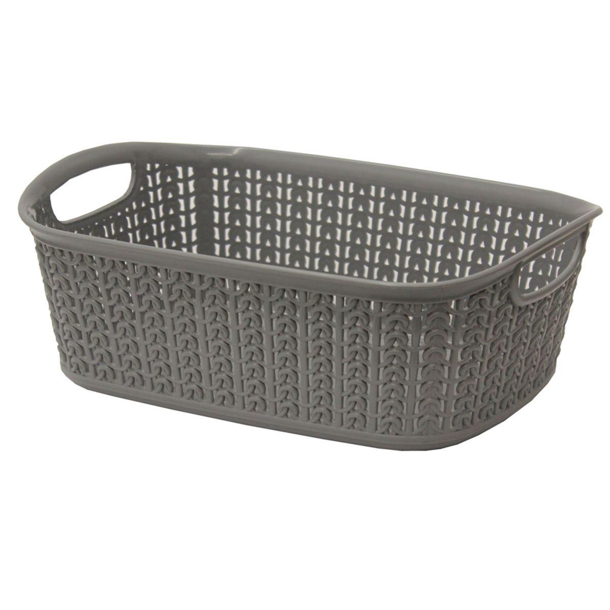 JVL Knit Design Loop Plastic Rectangular Small Storage Basket with Handles Ivory 20 x 26 x 9.5 cm 3 Litres