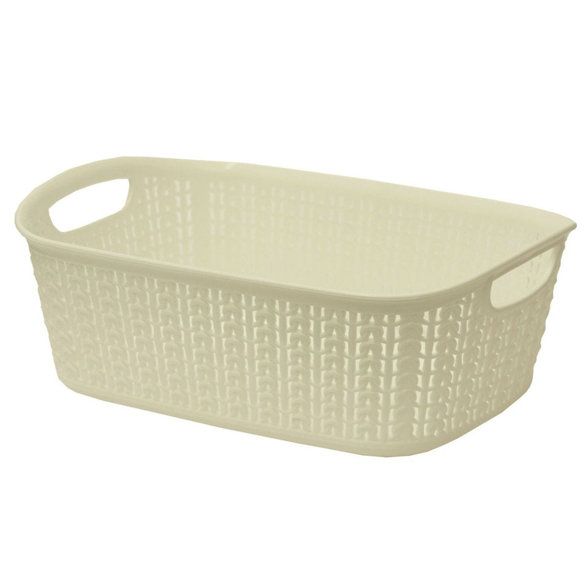 JVL Knit Design Loop Plastic Rectangular Small Storage Basket with Handles Ivory 20 x 26 x 17 cm 6.6 Litres