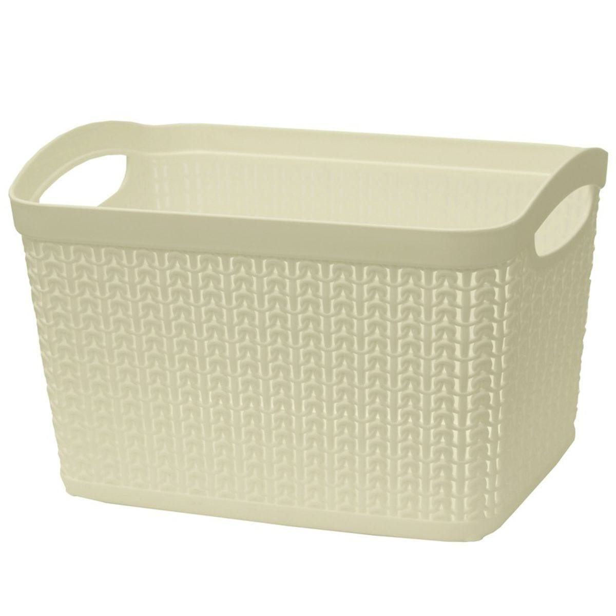 JVL Knit Design Loop Plastic Rectangular Small Storage Basket with Handles Ivory 20 x 26 x 17cm 6.6L