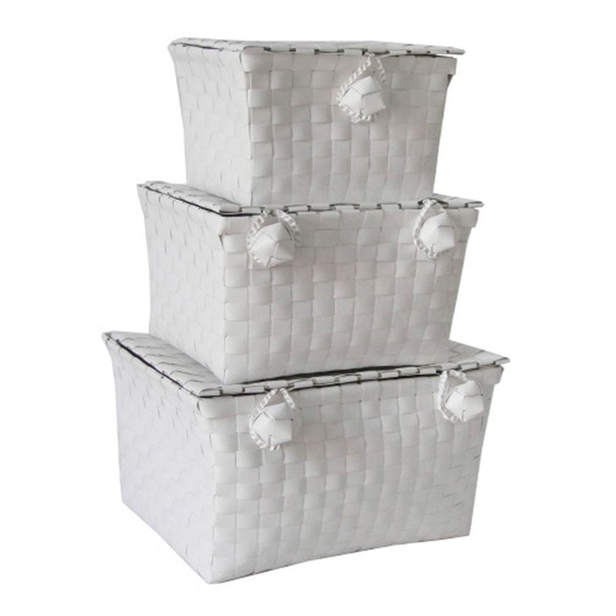 JVL Woven Lidded Storage Units White Set of 3