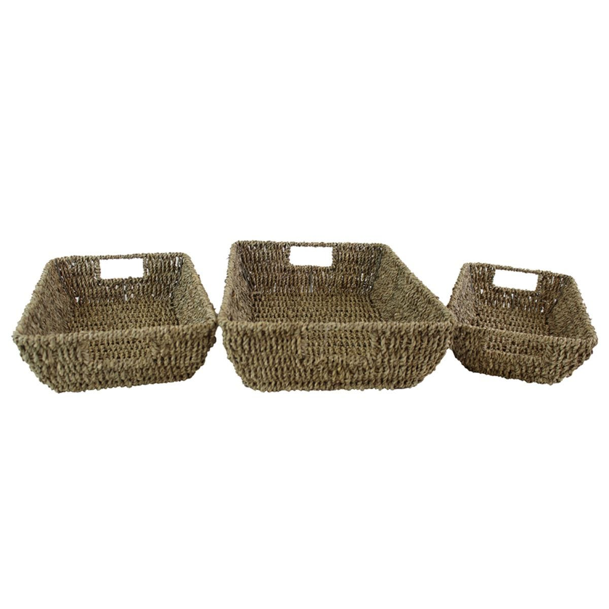 JVL Set Of 3 Tapered Seagrass Trays With Handles