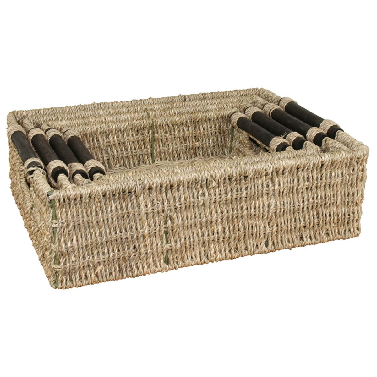JVL Seagrass Rectangular Storage Baskets with Wood Handles Set of 4