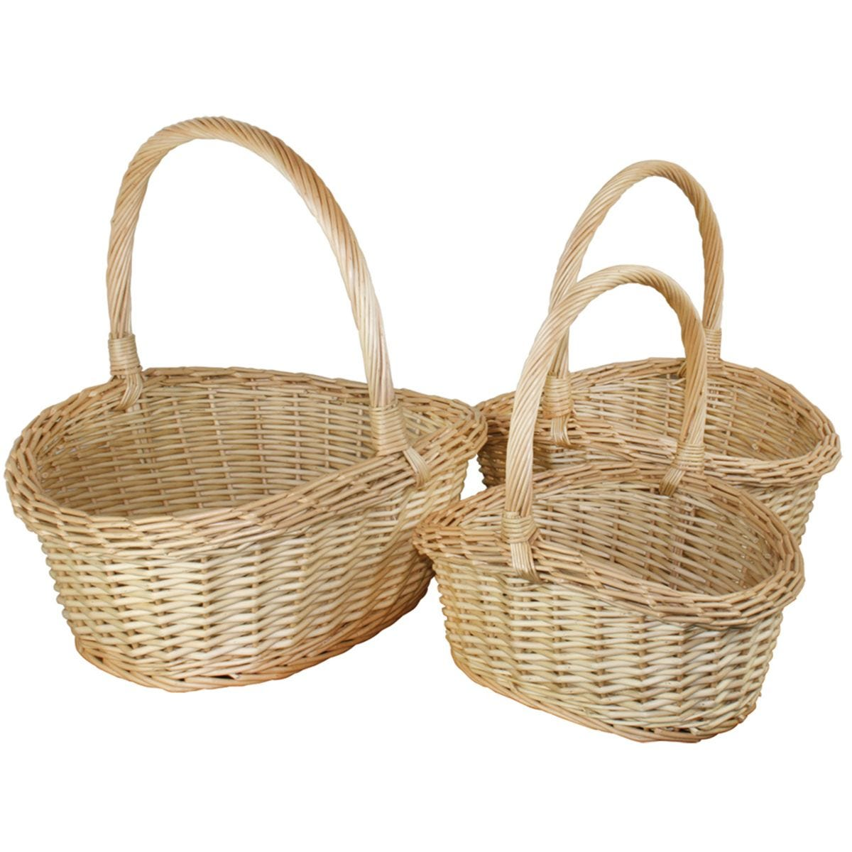 JVL Set Of 3 Oval Steamed Willow Storage Baskets Bedroom Home Caravan Office