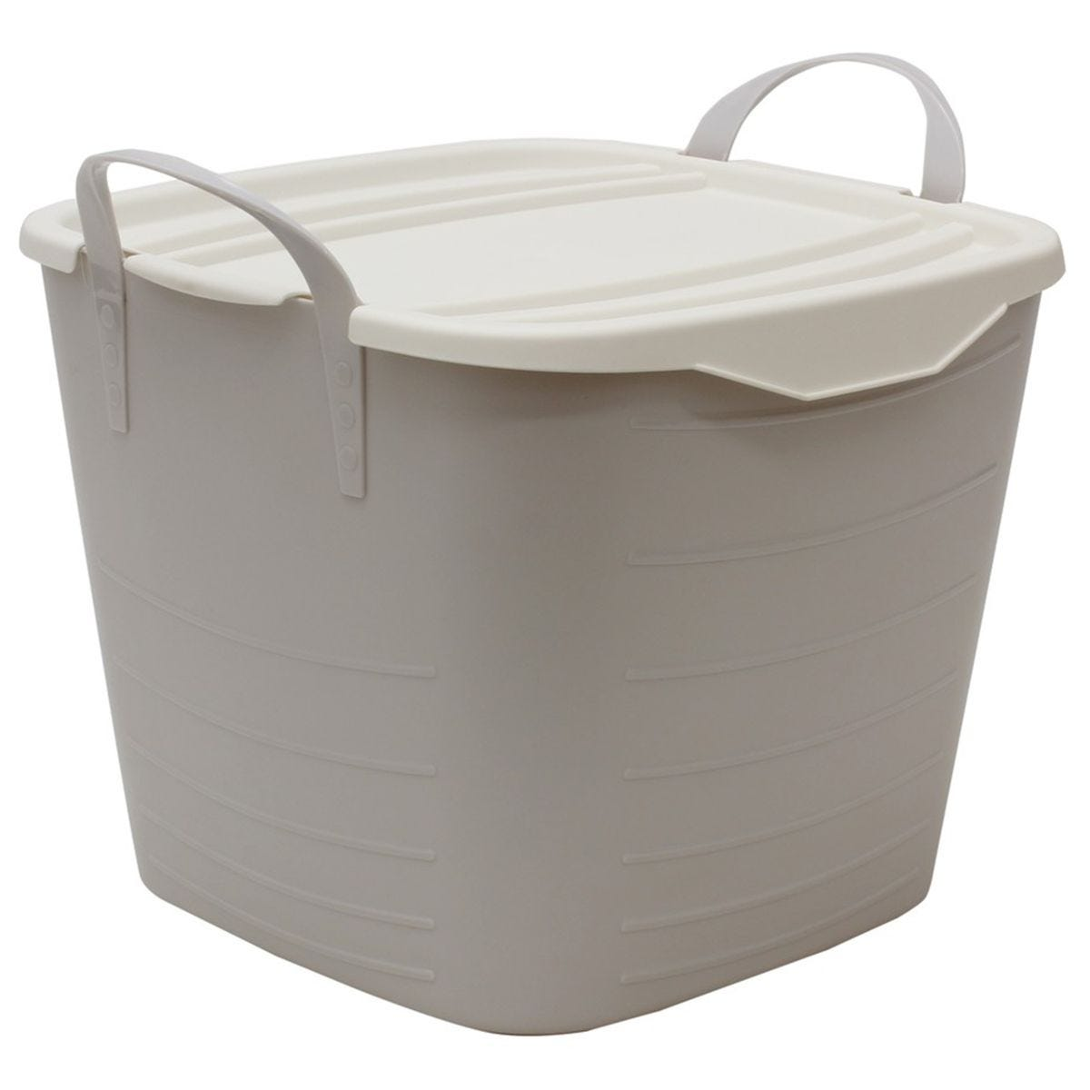 JVL Funktional Medium 25 Litre Plastic Storage Container with Lid Grey 41x37xH35cm
