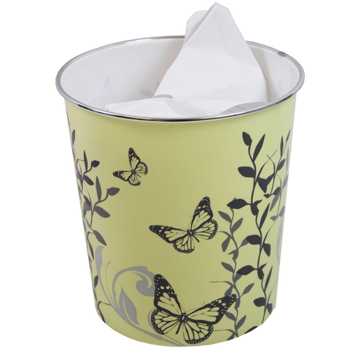 JVL Novelty Plastic Butterfly Waste Paper Bin Cream 25 x 26.5 cm