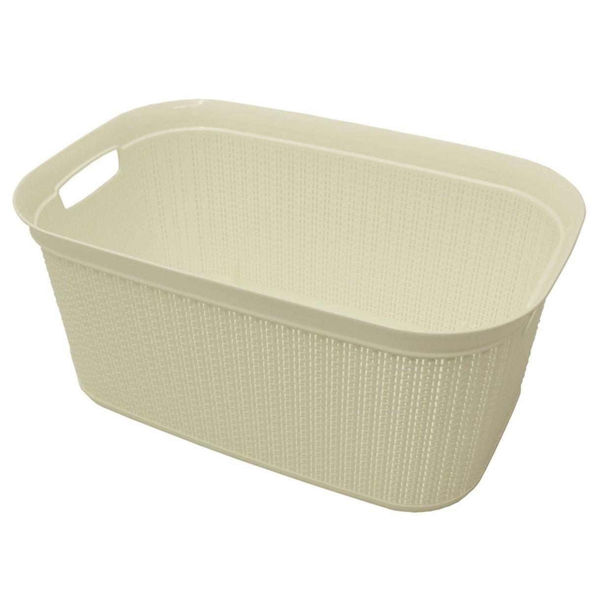 JVL 38L Knit Design Rectangular Linen Washing Basket - White