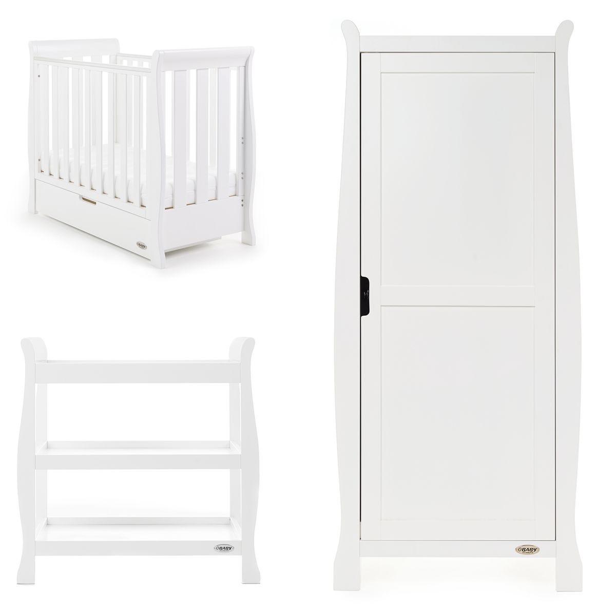 Obaby Stamford Space Saver Sleigh 3 Piece Room Set - White