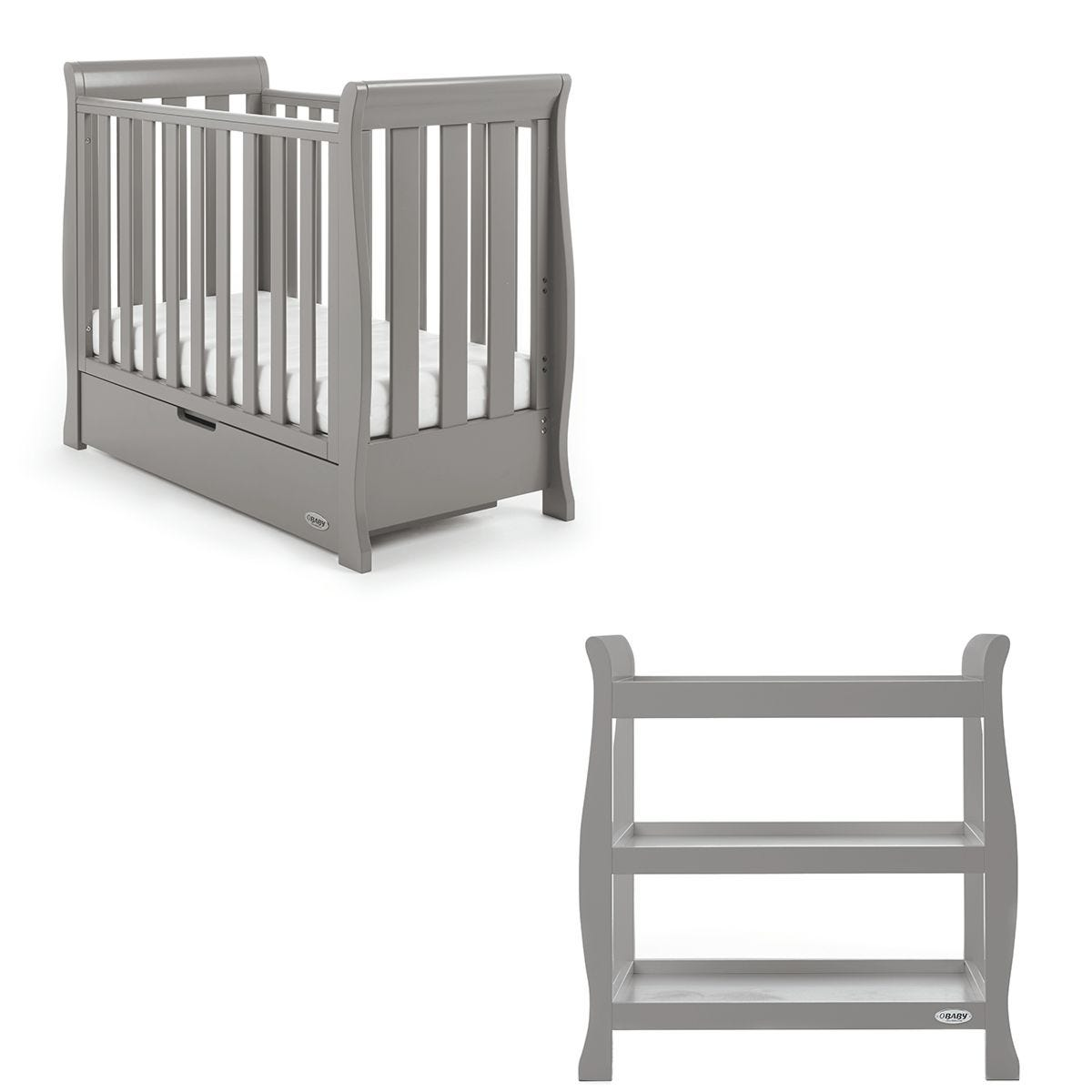 Obaby Stamford Space Saver Sleigh 2 Piece Room Set - Taupe Grey