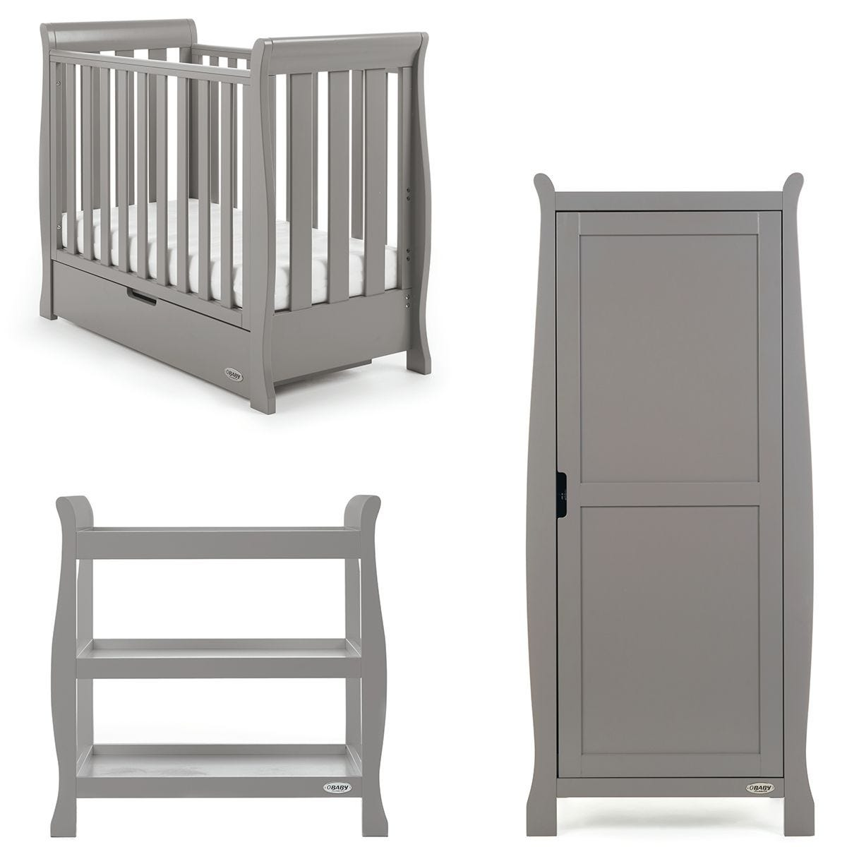 Obaby Stamford Space Saver Sleigh 3 Piece Room Set - Taupe Grey