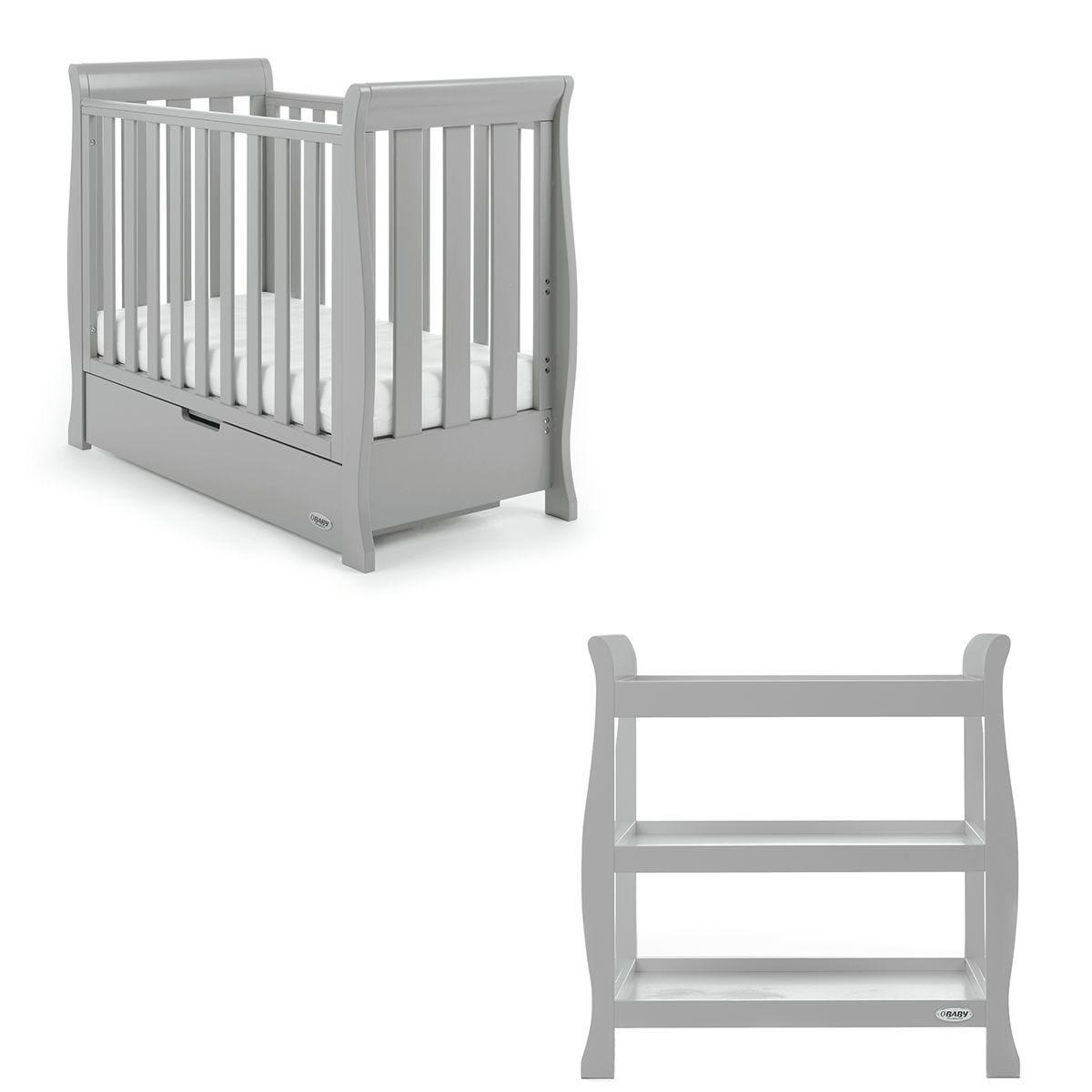Obaby Stamford Space Saver Sleigh 2 Piece Room Set - Warm Grey