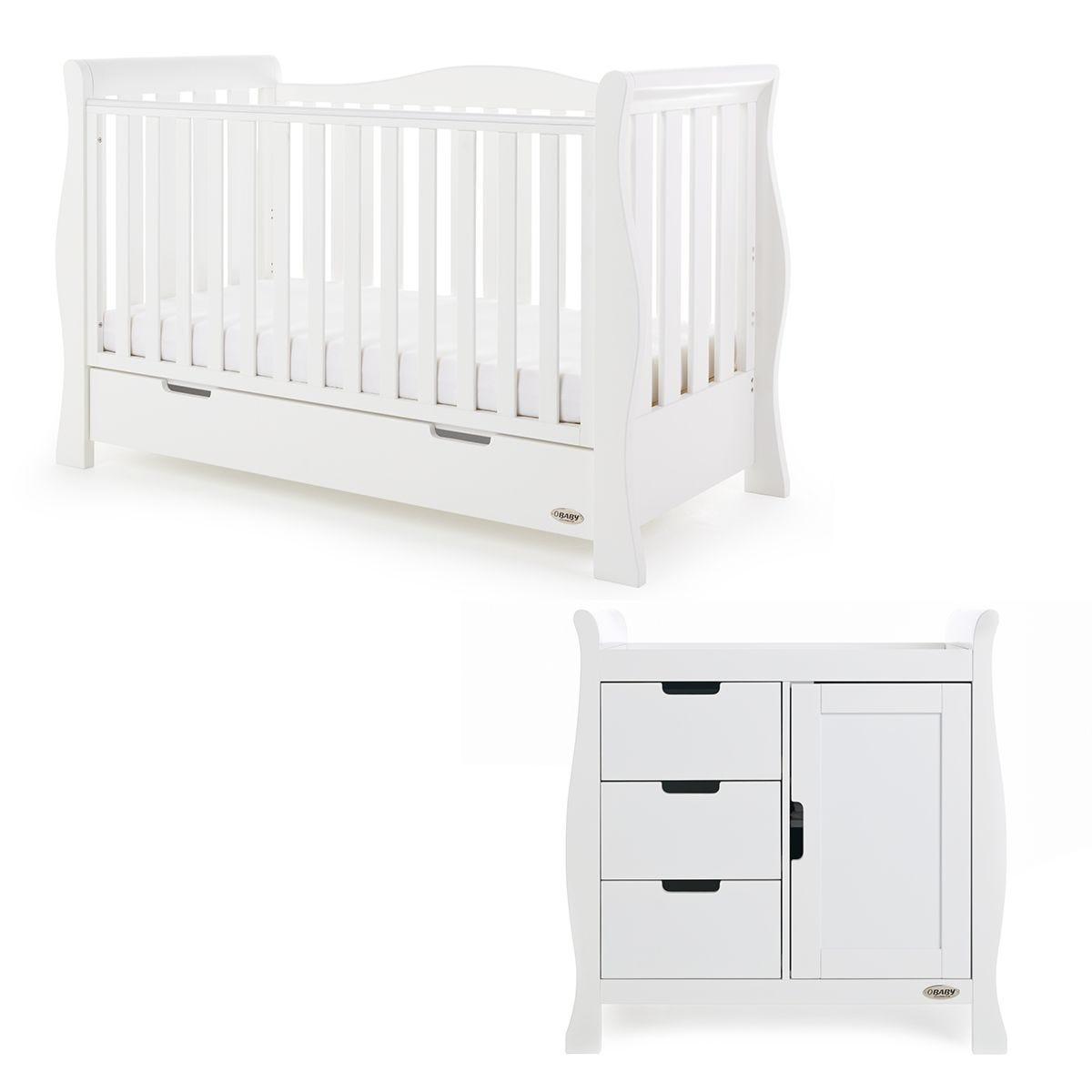 Obaby Stamford Luxe Sleigh 2 Piece Room Set White