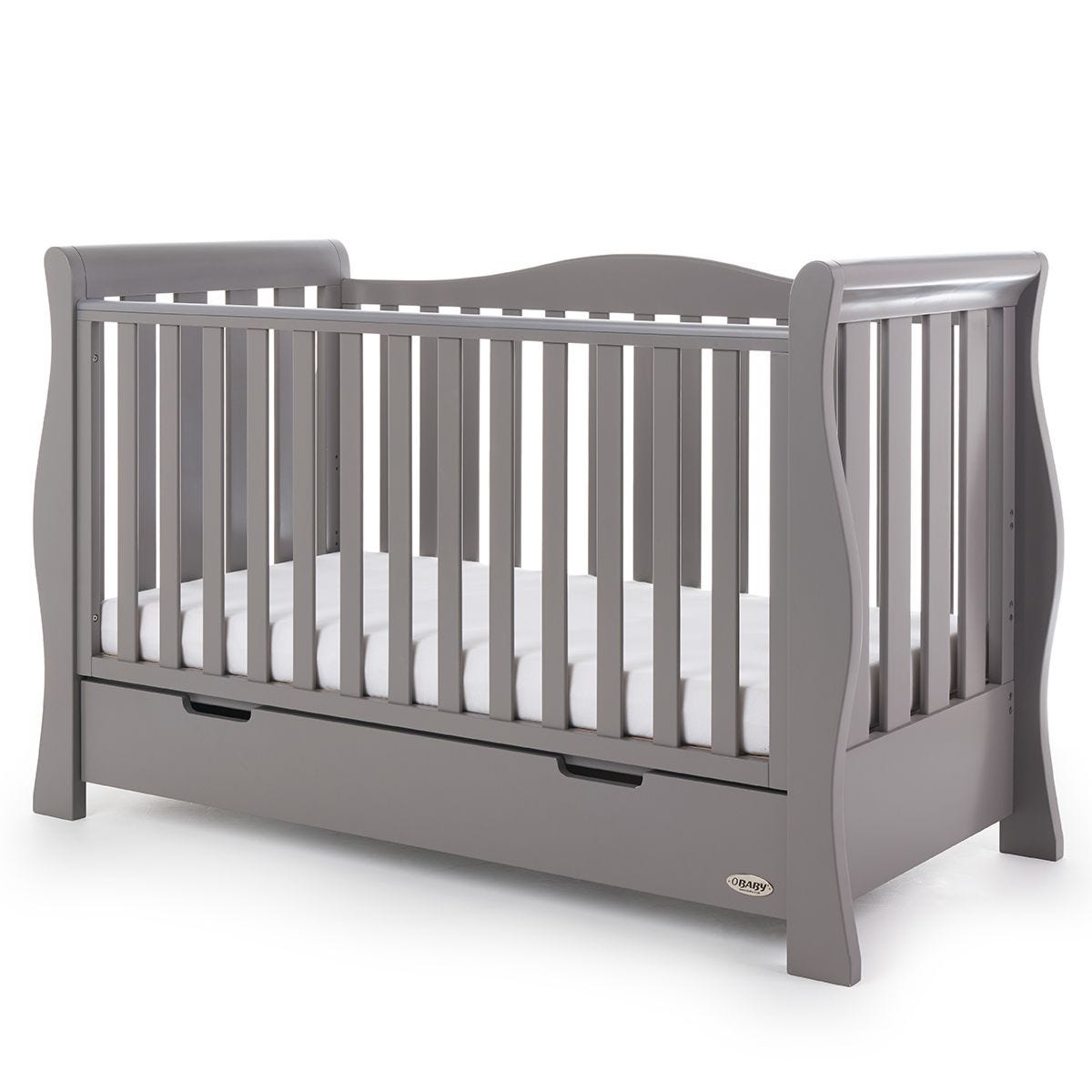 Obaby Stamford Luxe Sleigh Cot Bed Taupe Grey