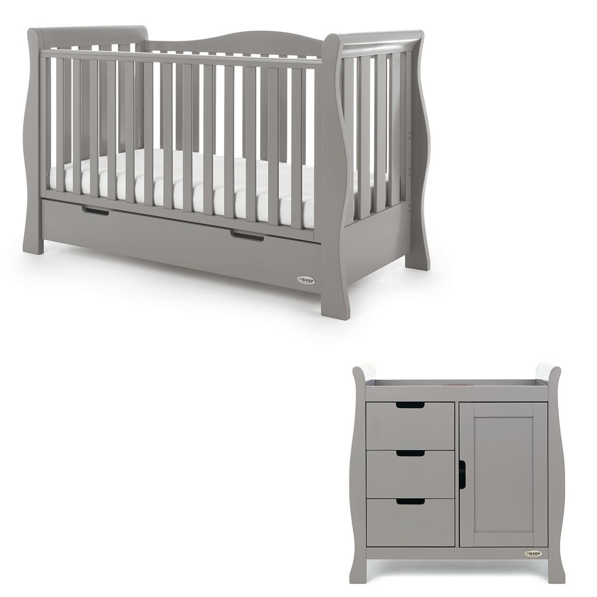 Obaby Stamford Luxe Sleigh 2 Piece Room Set Taupe Grey