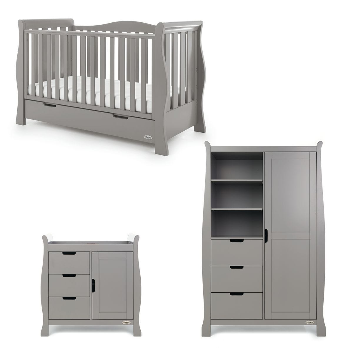 Obaby Stamford Luxe Sleigh 3 Piece Room Set Taupe Grey