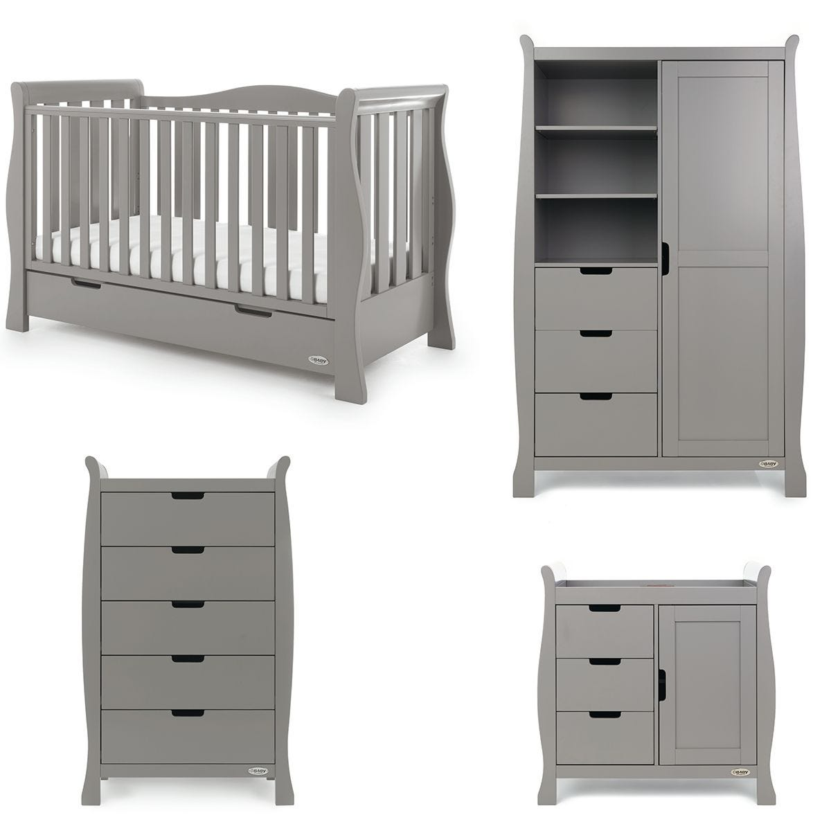 Obaby Stamford Luxe Sleigh 4 Piece Room Set - Taupe Grey