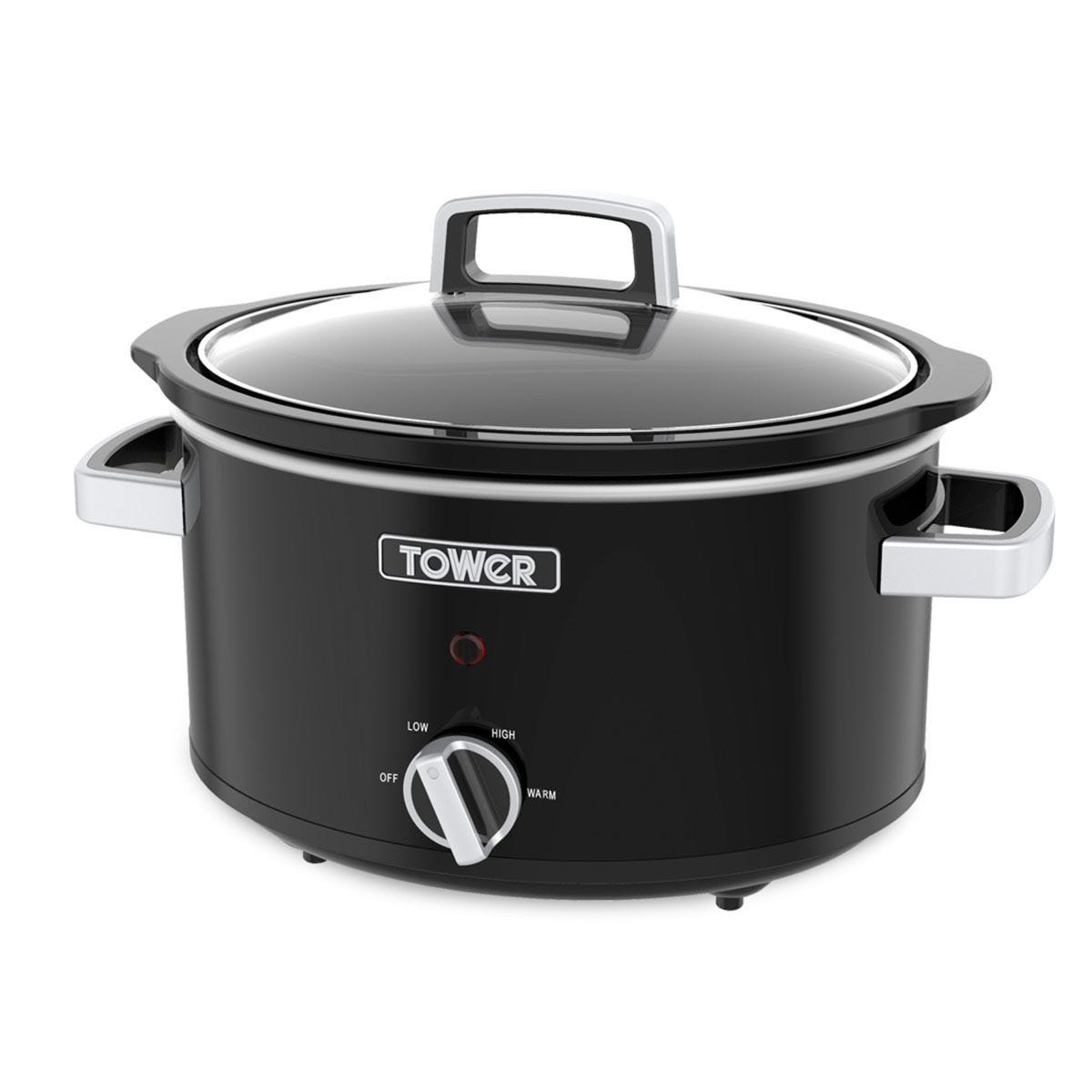 Tower T16019BL 6.5L Stainless Steel Slow Cooker - Black