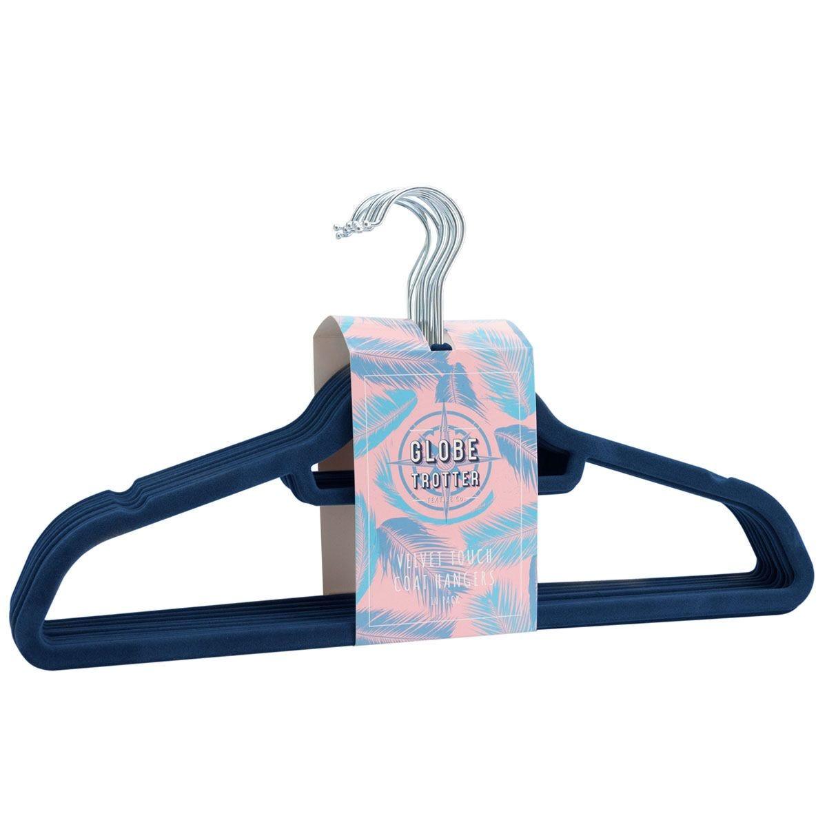 Globetrotter Velvet Touch Coat Hangers Pack of 10 - Blue