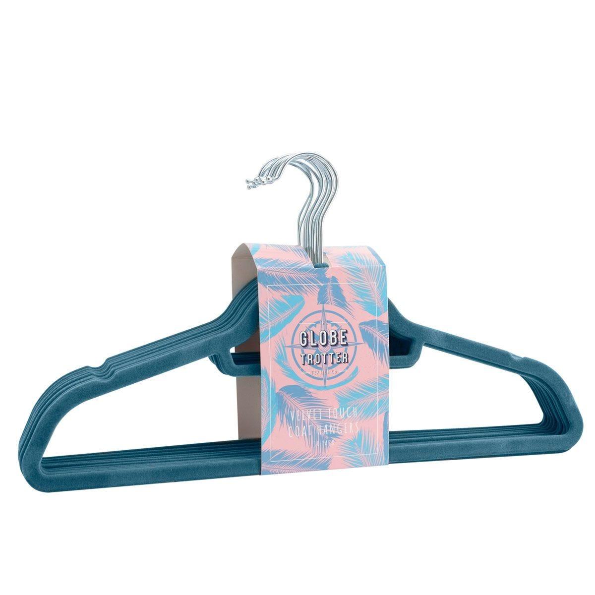 Globetrotter Velvet Touch Coat Hangers Pack of 10 - Light Blue