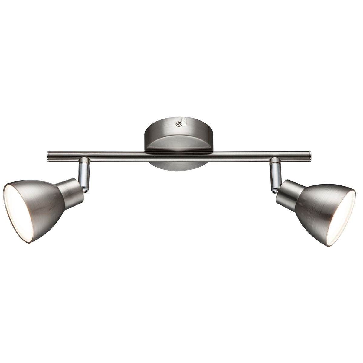 Action Lester Pendant Bar/Spot Light - Nickel Matt Finished/Chrome with 2 x LED Bulbs
