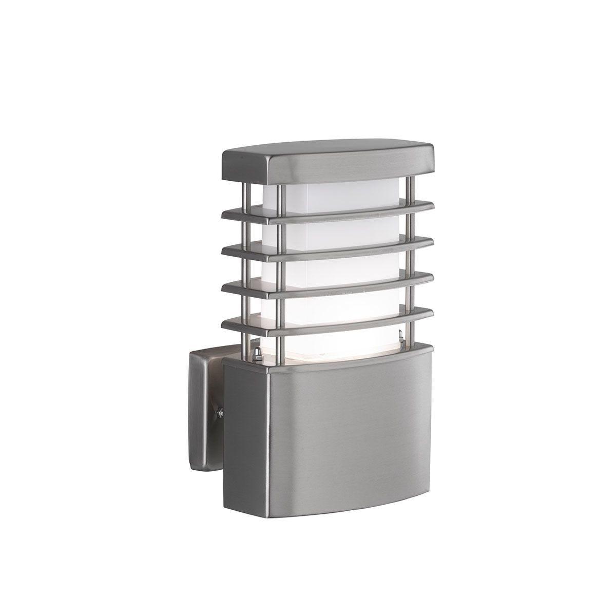 Wofi Chesta Rectangular Wall Lamp - Brushed Stainless Steel