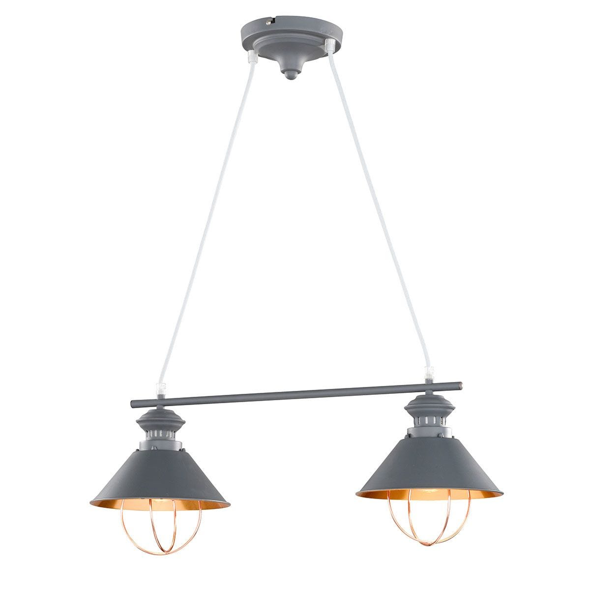 Wofi Florence 2-Light Pendant Bar/Spotlight - Grey