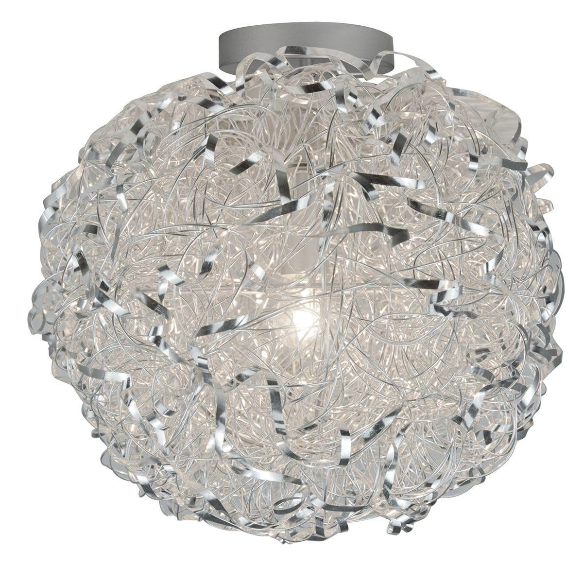 Wofi Fortune Flush Fitting Ceiling Light - Silver