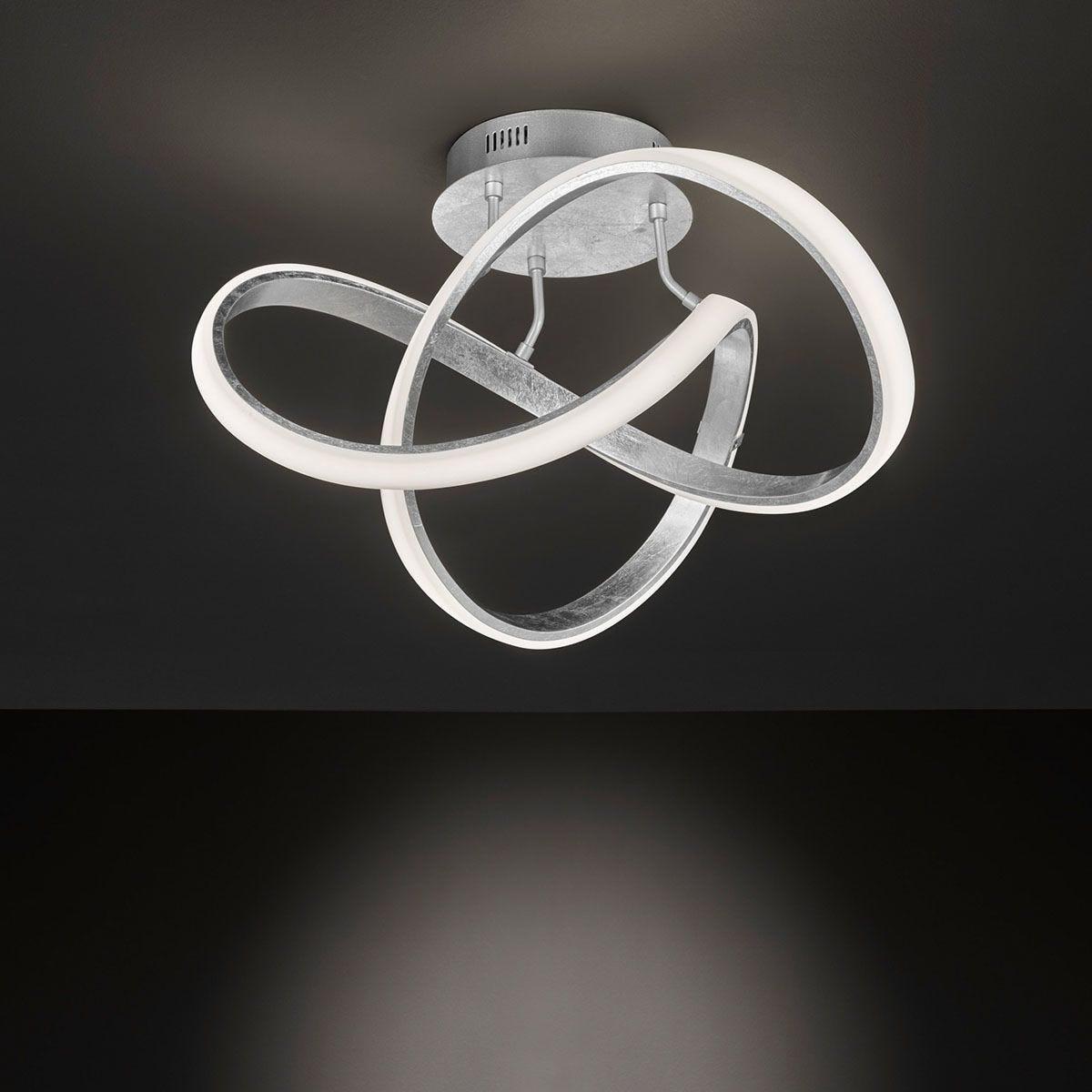 Wofi Indigo LED Flush Fitting Ceiling Lamp - Silver