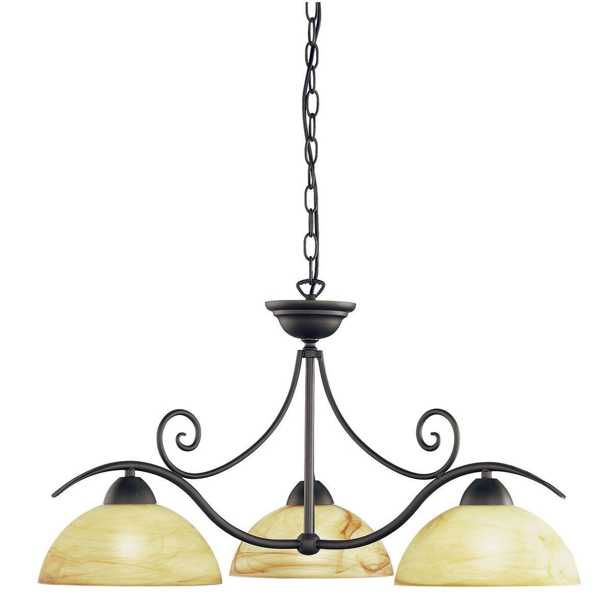 Wofi Lacchino 3-Light Pendant Lamp - Antique Brown
