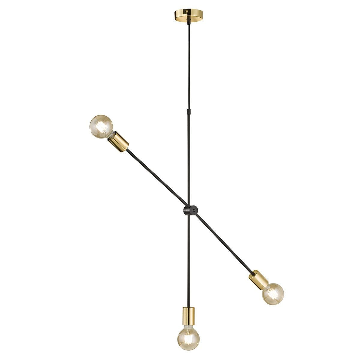 Wofi Sara Pendant 3-Light Ceiling Lamp- Black & Gold