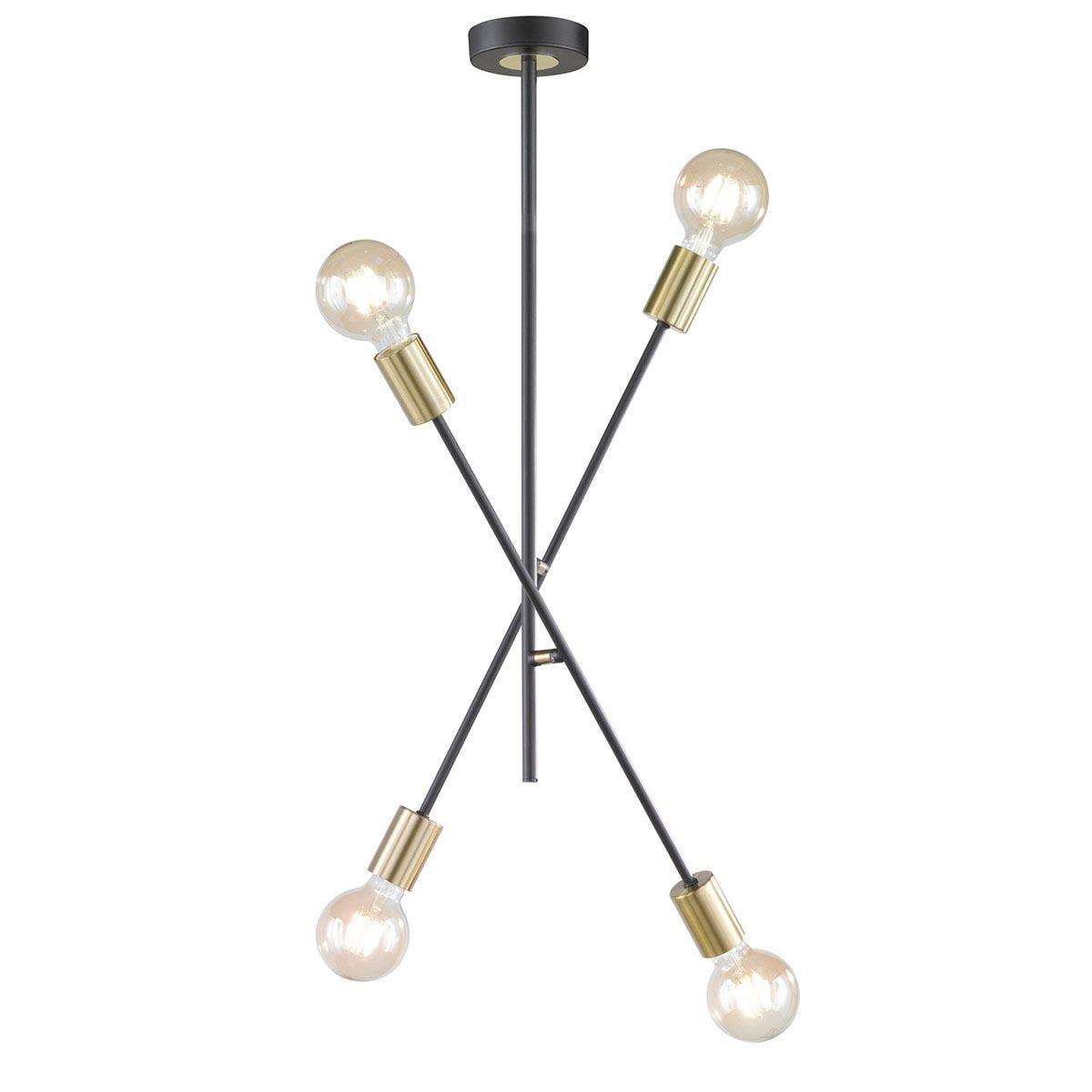 Wofi Tanil 4-Light Ceiling Lamp Single Shaft - Black & Gold
