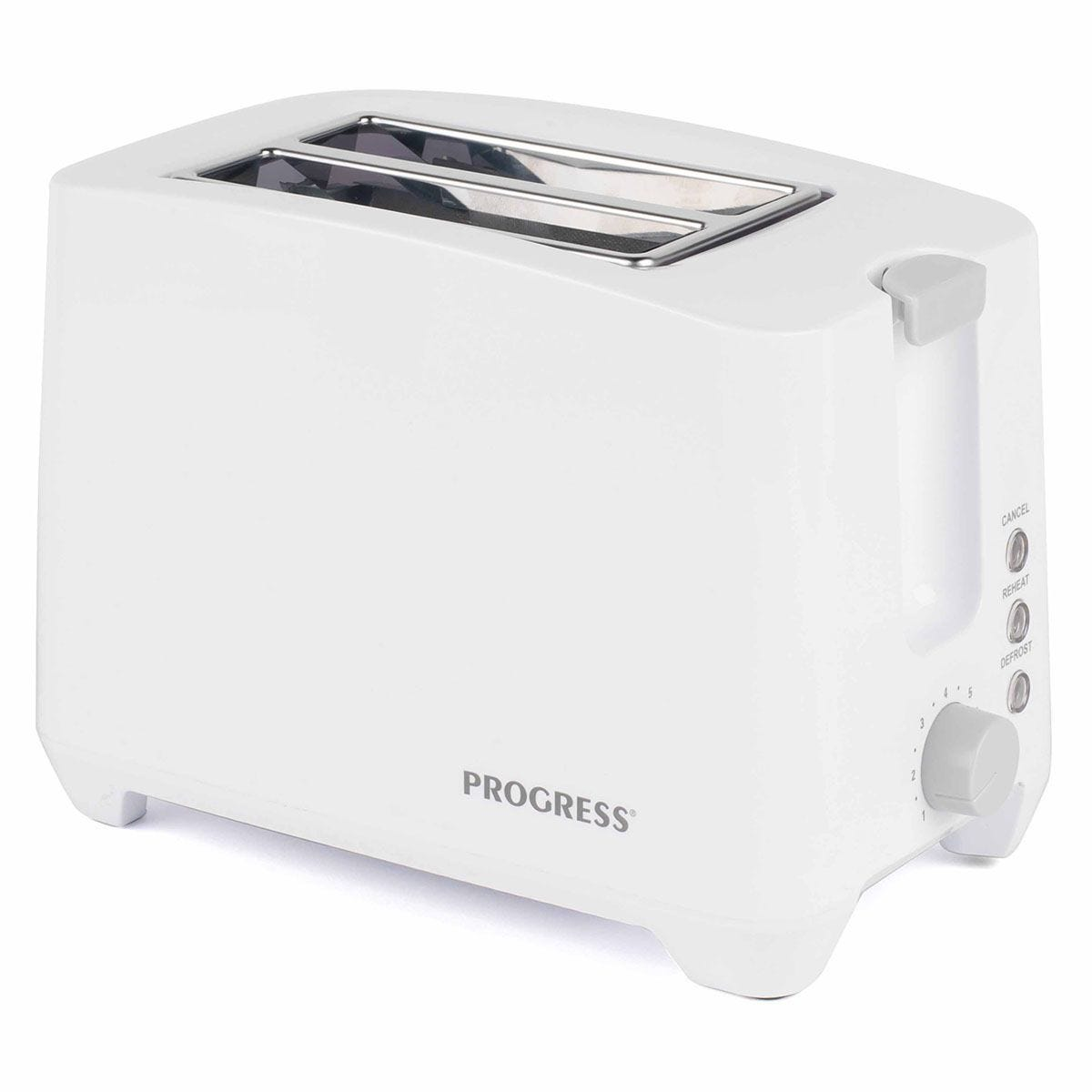 Progress EK3393P Two Slice Toaster with Slide-Out Crumb Tray - White