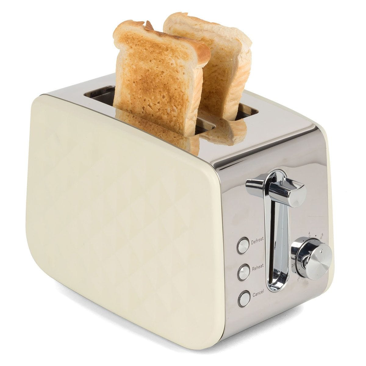 Salter EK2635CREAM 850W Two-Slice Diamond Toaster with Variable Browning Control - Cream