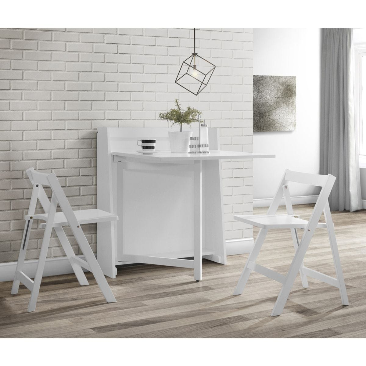 Julian Bowen Helsinki Compact Folding White Dining Set