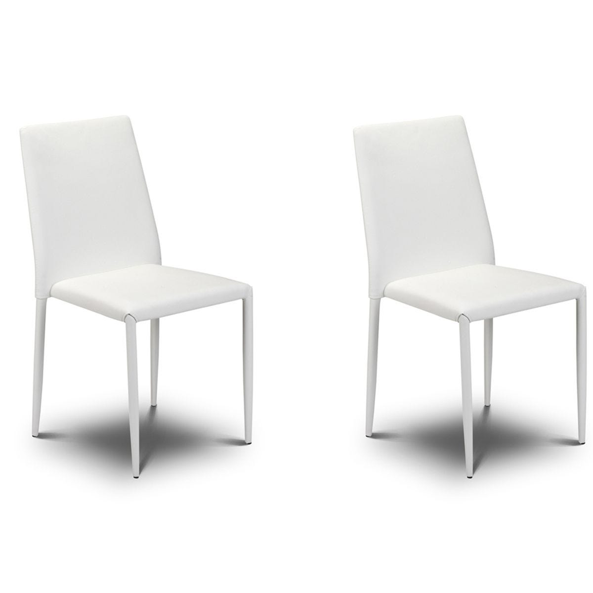 Julian Bowen Jazz Stacking Chair 2 Pack - White Faux Leather
