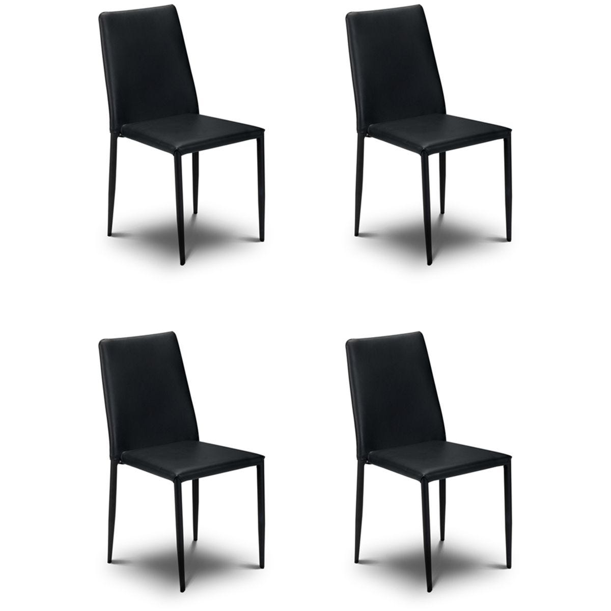 Julian Bowen Jazz Stacking Chair 4 Pack - Black Faux Leather