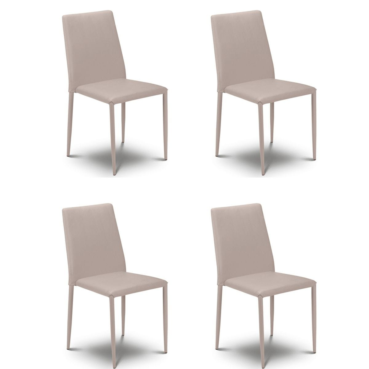 Julian Bowen Jazz Stacking Chair 4 Pack - Grey Faux Leather