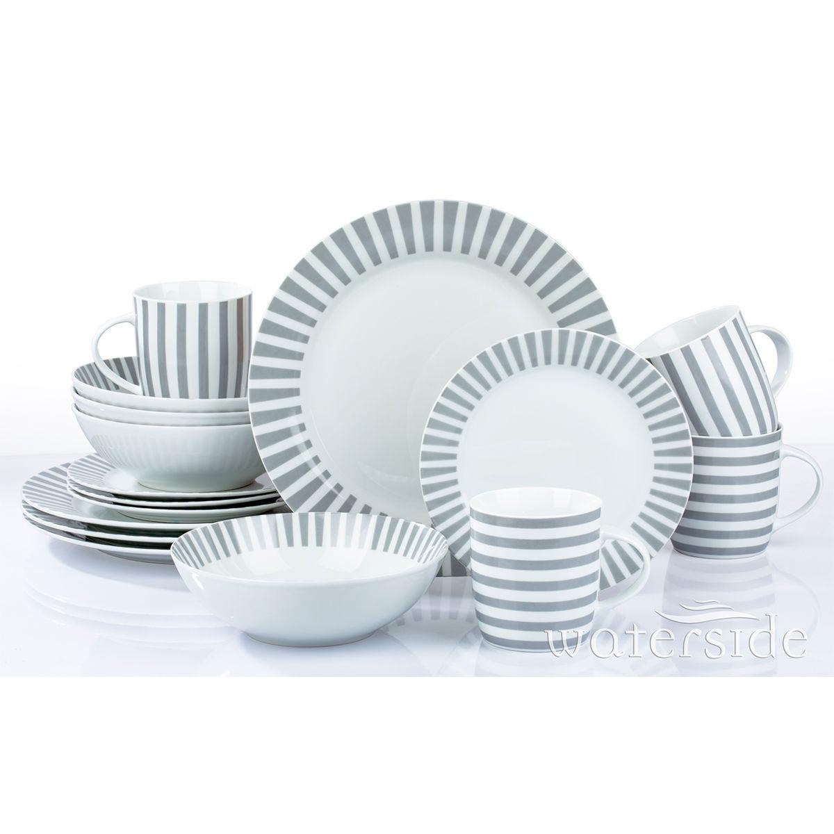 The Waterside 16 Piece Grey Stripe Dinner Set