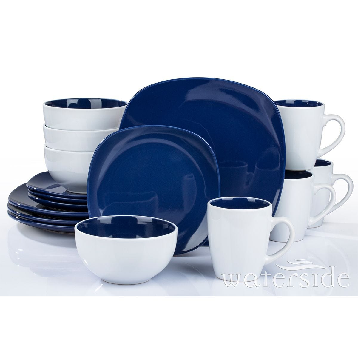 The Waterside 16 Piece Blue Square Dinner Set