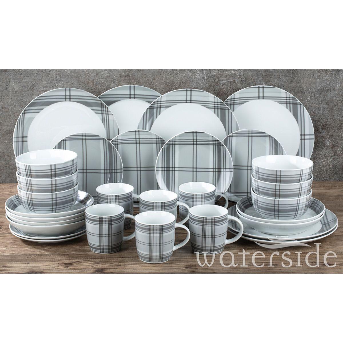 The Waterside 30pc Grey Tartan Dinner Set
