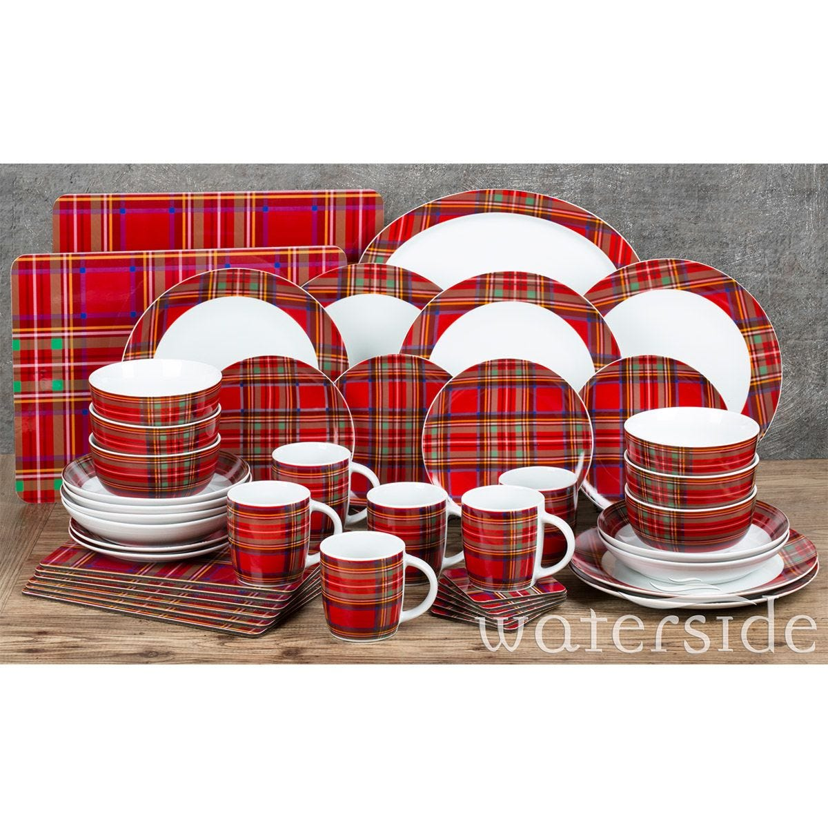The Waterside 45pc Highland Red Tartan Dinner Set