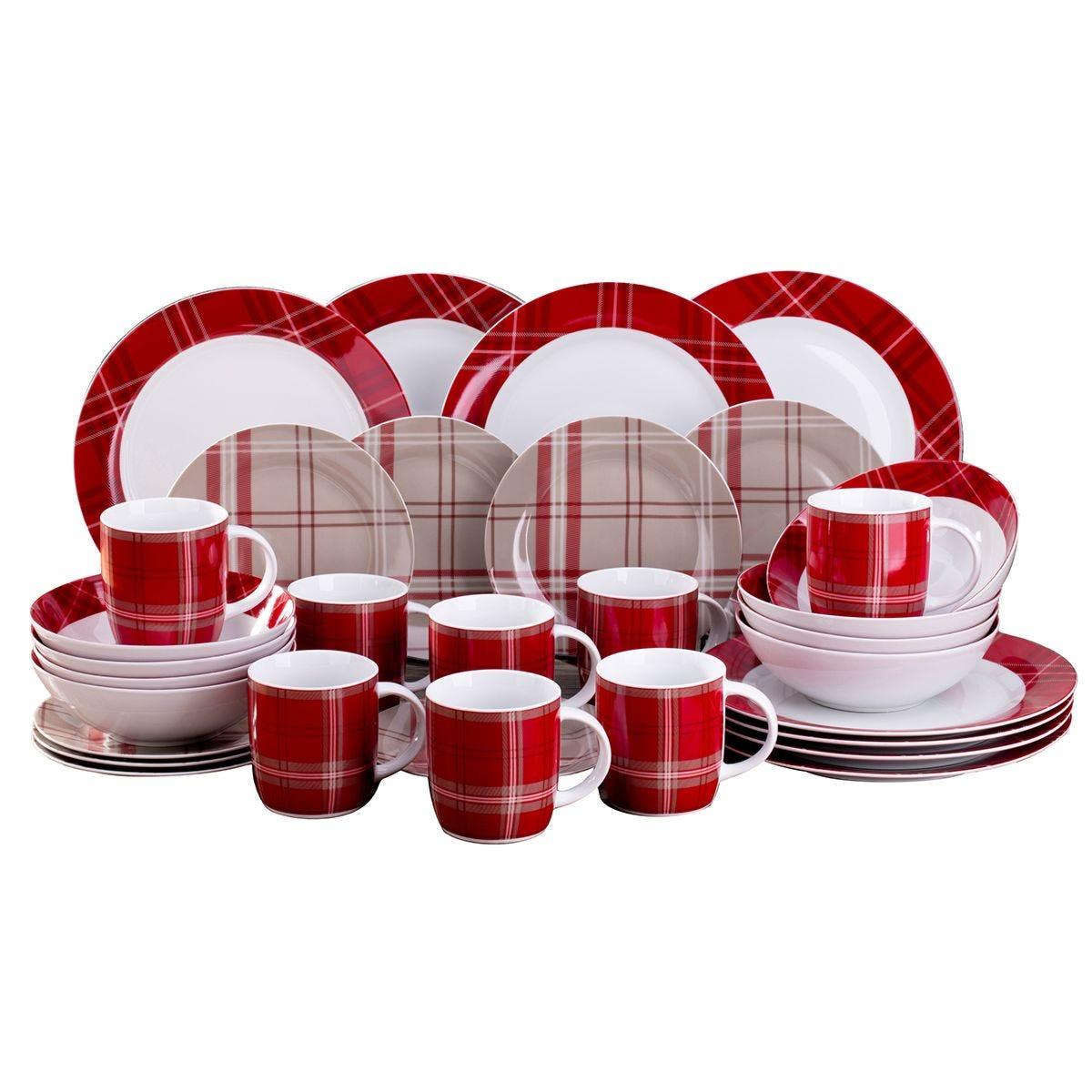 The Waterside 32pc Highland Red Tartan Dinner Set