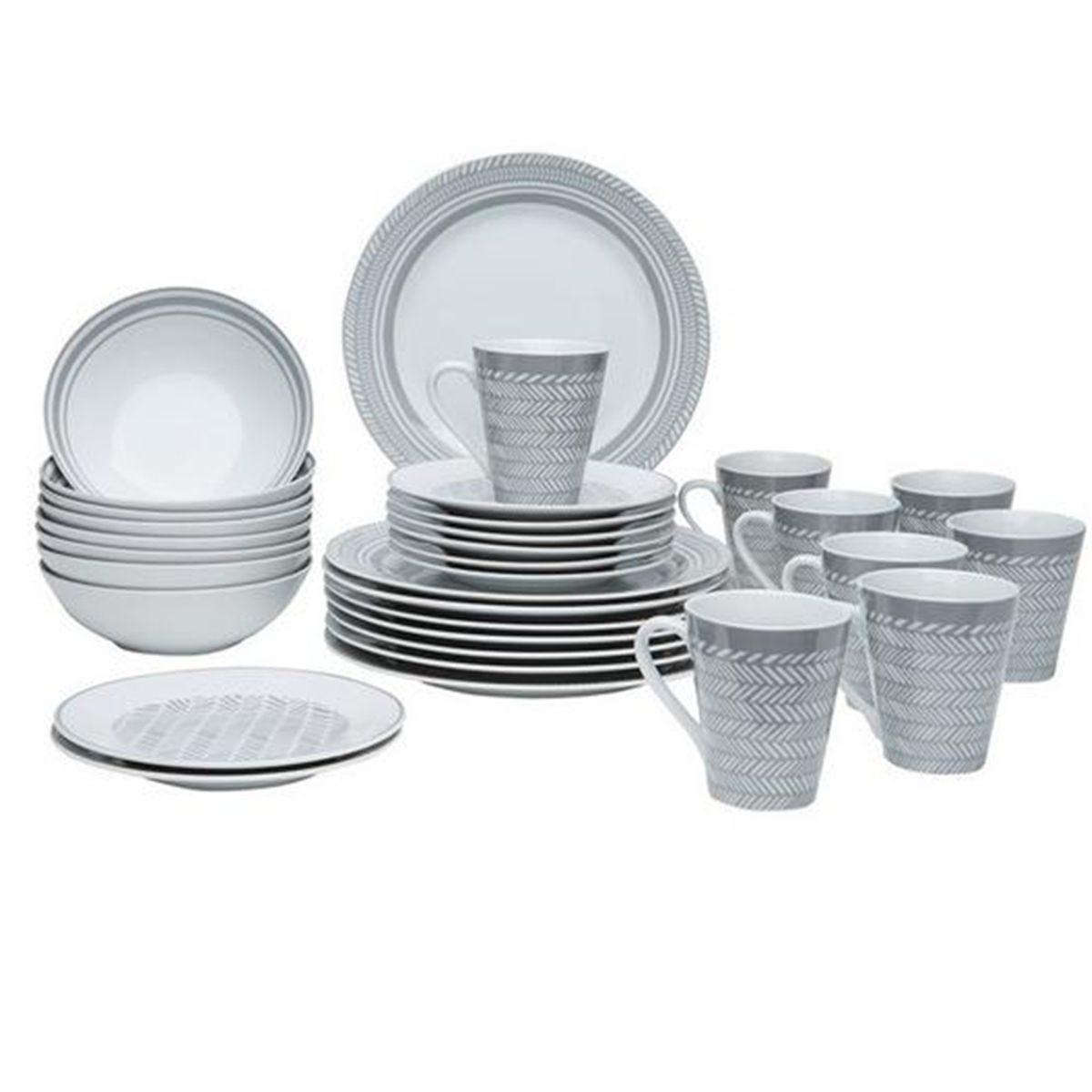 The Waterside 32pc Grey Herringbone Dinner Set