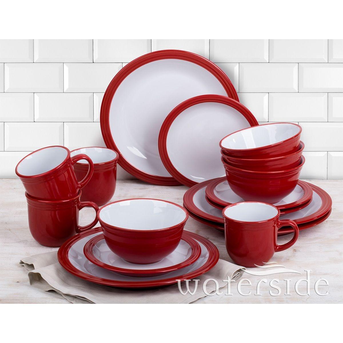 The Waterside 16pc Camden Dinner Set - Red