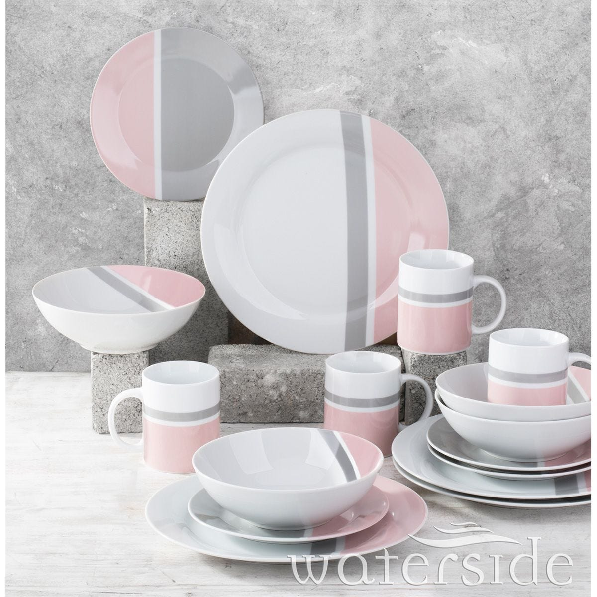 The Waterside 16pc Lulu Blush Pink and Grey Dinner Set