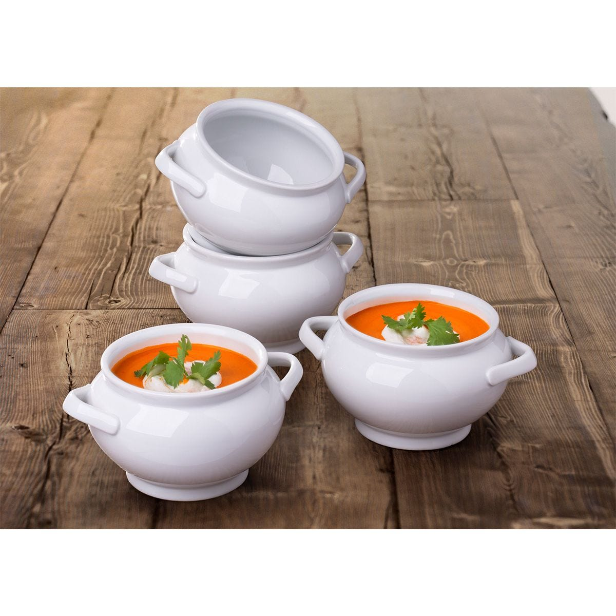 The Waterside 4 Deep Soup Bowls with Handles - White
