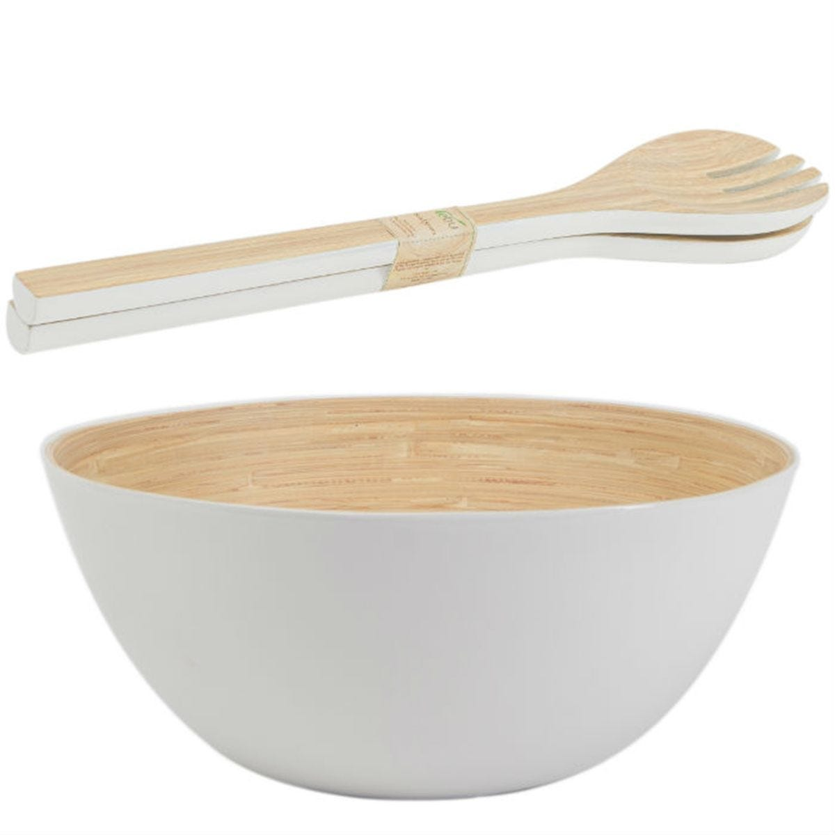 Rebu White Bamboo Salad Bowl and Servers