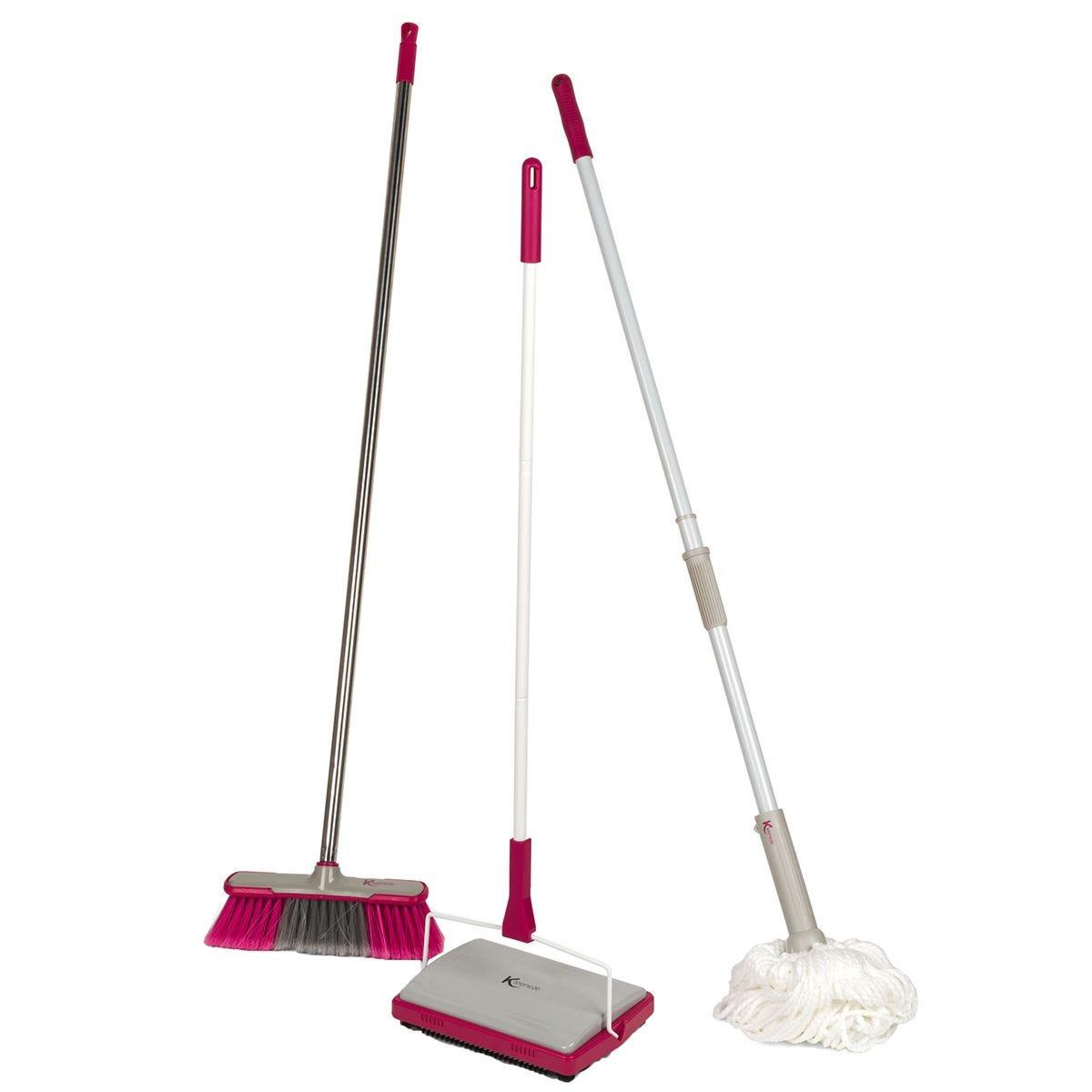 Kleeneze Soft Bristle Broom Carpet Sweeper & Extendable Twist Mop