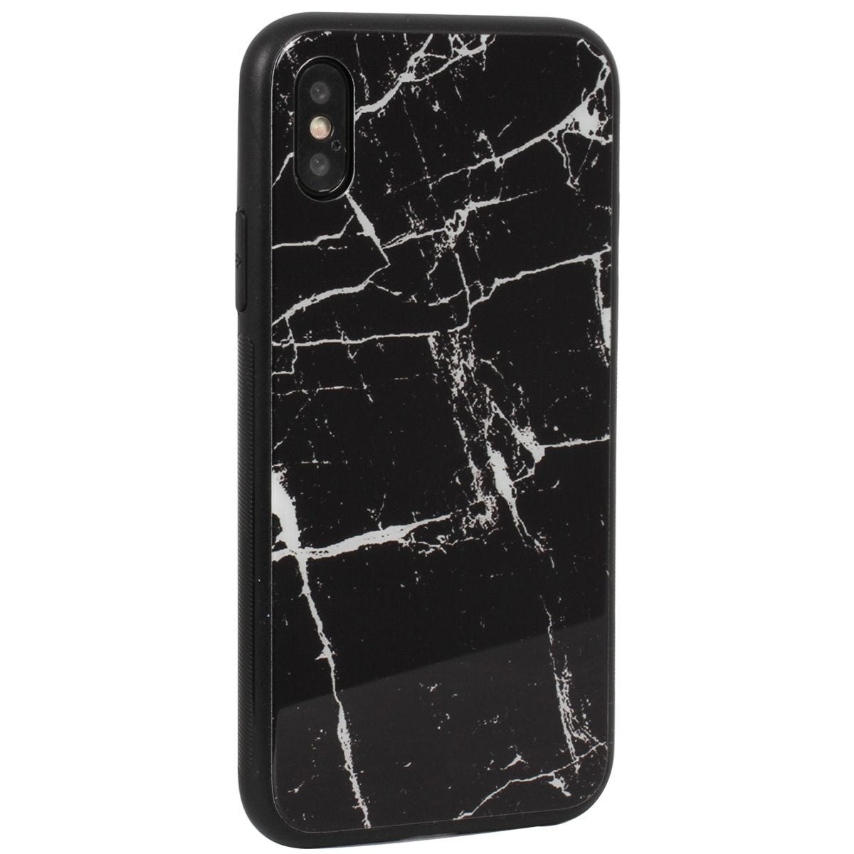 Case Luxe Black White Marble for iPhone X