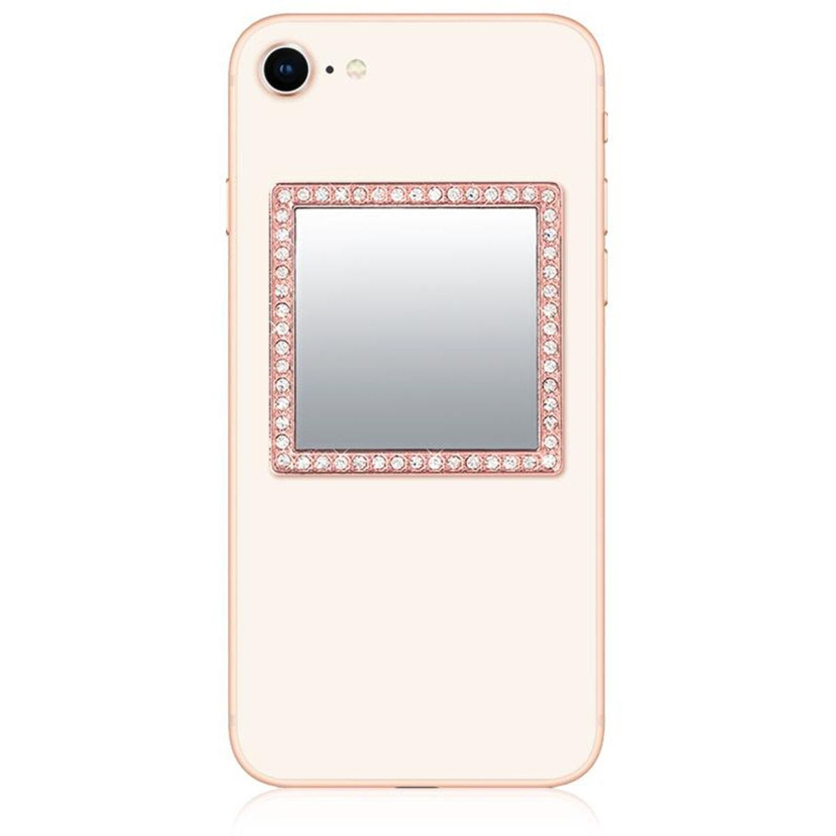 iDecoz Rose Gold Square Phone Mirror with Crystals